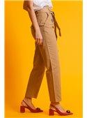 Twin Set Pantalón De Lona Con Bordado Ingles