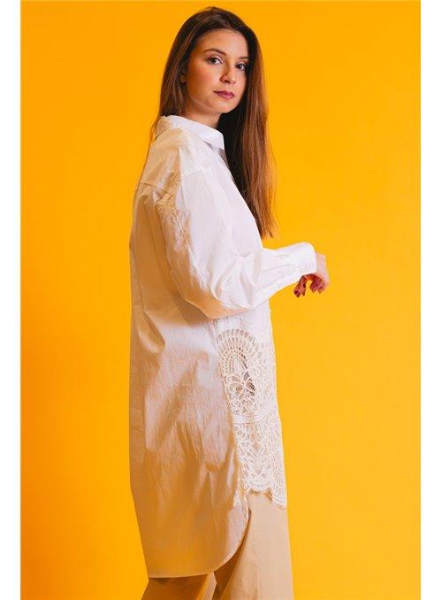 Twin Set Camisa De Popelina Con Encaje