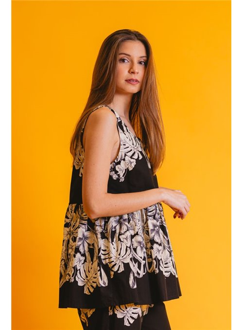 Twin Set Top Negro Estampado Flores