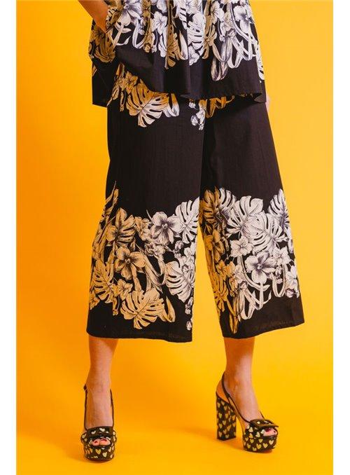 Twin Set Pantalón Negro Estampado Flores