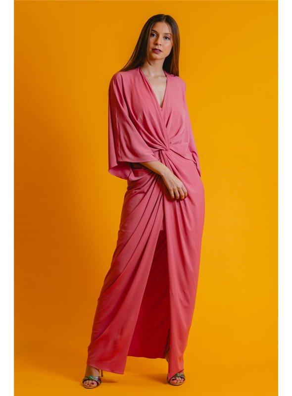 Color Nude Vestido Largo Tipo Kaftan