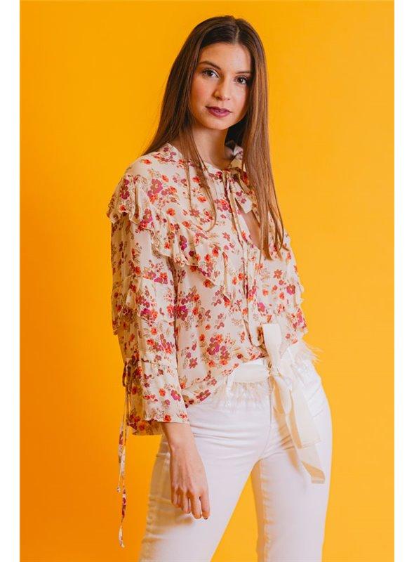TWISTER Camisa Beige Estampado Flores