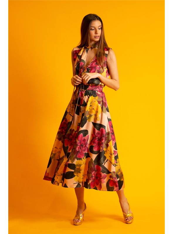 Acces Vestido Largo Estampado Flores