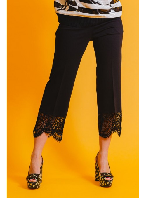 Twin Set Pantalón Con Encaje Negro