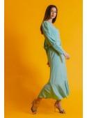 Color Nude Vestido crepe verde aguamarina