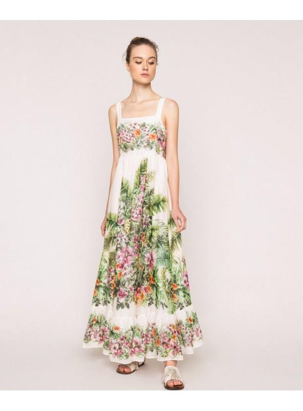 Twin Set Vestido largo estampado flores