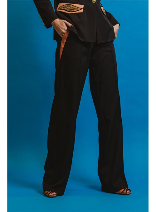 Masavi Pantalón Bicolor Negro/Maquillaje