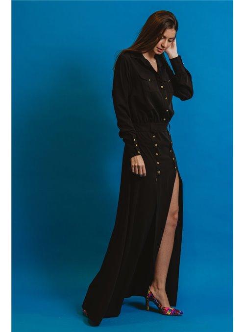 Masavi Vestido Largo Aberturas Botones Negro