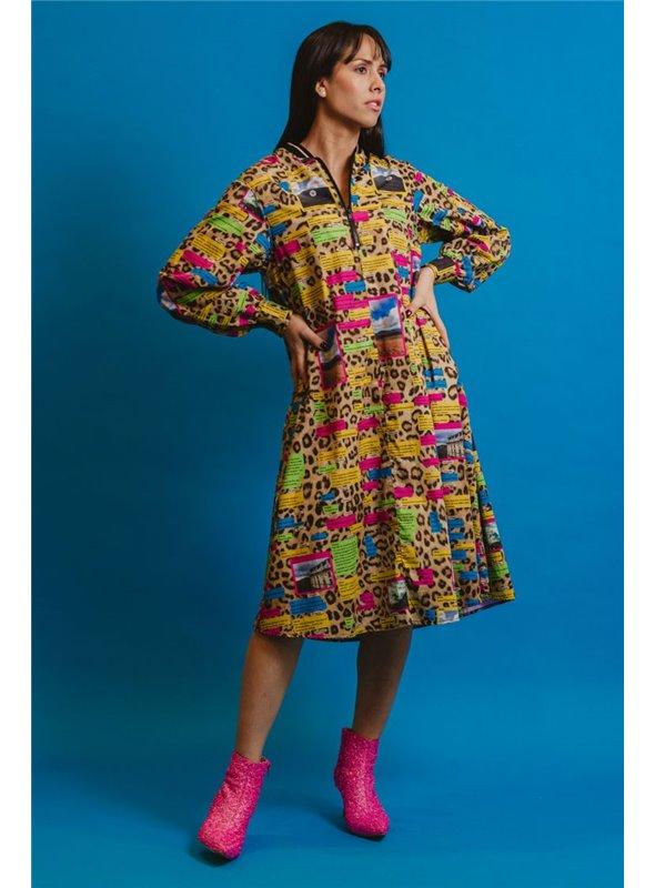 Otto d ame Vestido Estampado Print Leopardo Y Letras