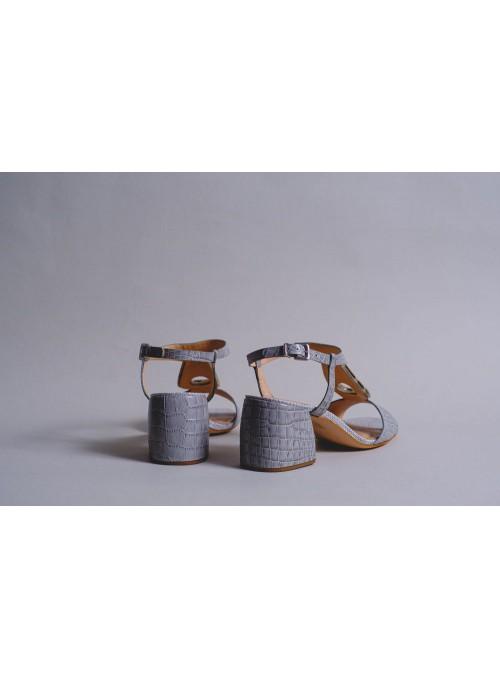 Unique Sandalia Cocodrilo Gris Piedra Empeine