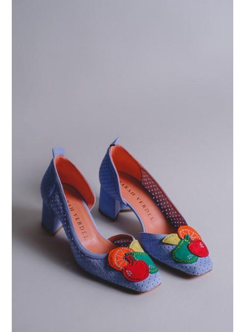 Sarah Verdel Zapato Ante Celeste Frutas