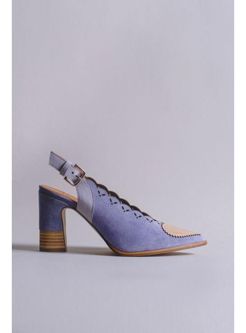 Javiera Zapato Destalonado Corazón Azul