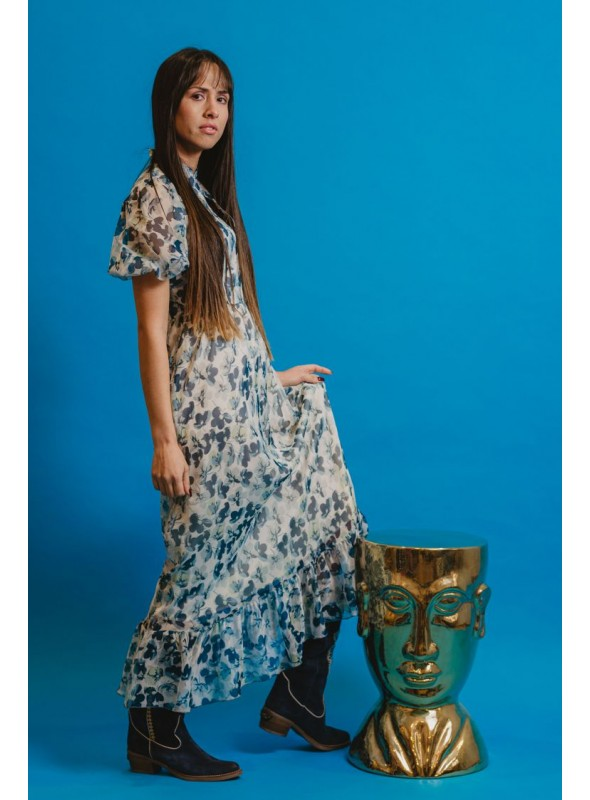 Cristina Beautiful life Vestido Estampado Flores Mangas Transparentes