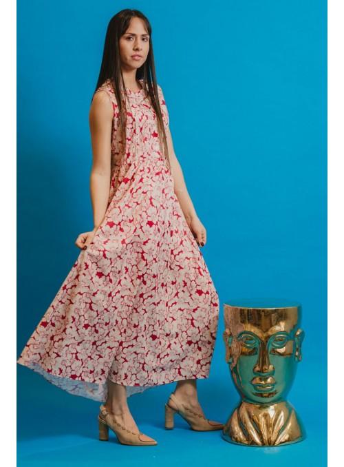 Cristina Beautiful life Vestido Rojo Flores Beige