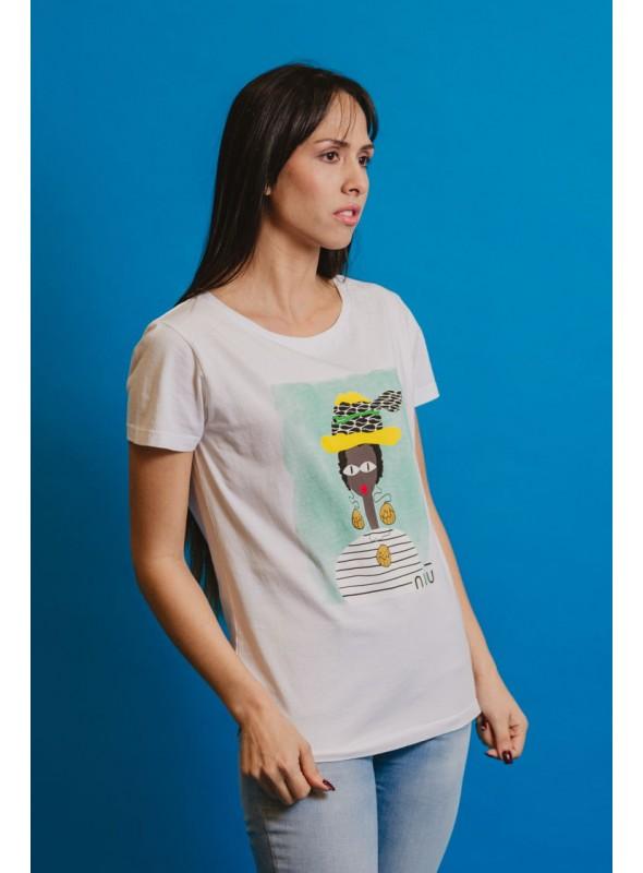 NIU Camiseta Chica Africana Sombrero