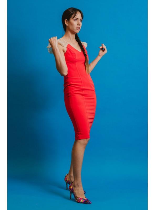 Acces Vestido rojo tull brocado