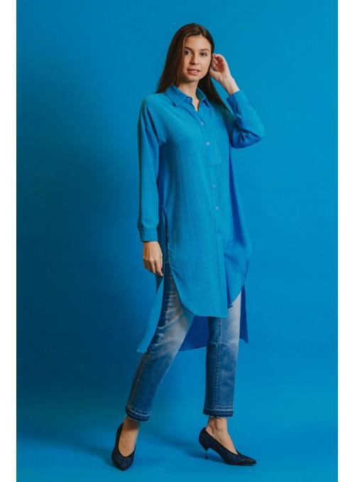 Koralline Camisa azul asimétrica