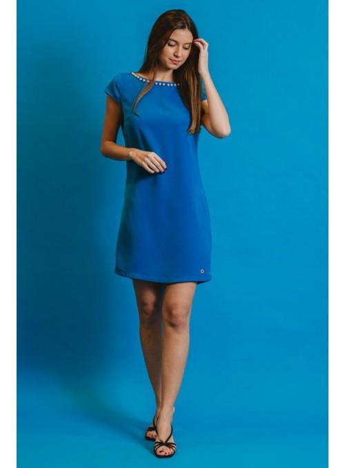 Koralline Vestido azul perlas.