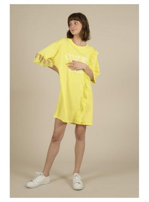 Lili Sidonio Vestido camiseta encaje