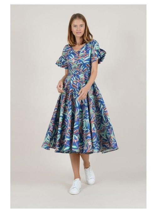 Lili Sidonio Vestido midi tropical