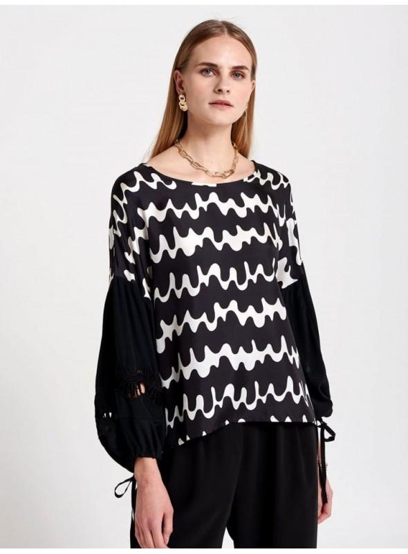 Beatrice Camisa seda estampado bicolor blanco/negro
