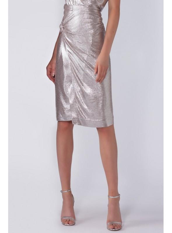 Nenette Falda metalizada plata