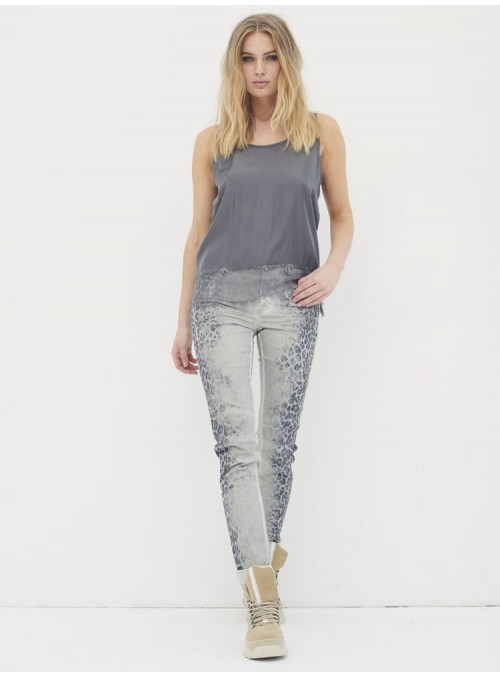 Nu Woman Pantalón gris estampado print