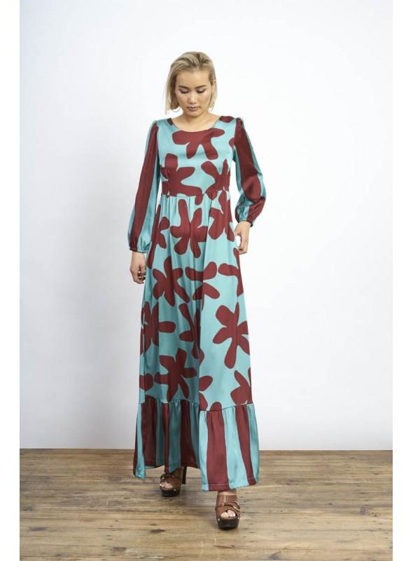 Malena Vestido turquesa largo estampado hojas