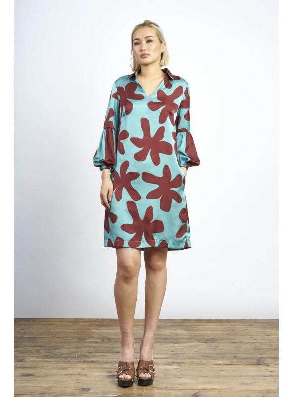 Malena Vestido turquesa estampado mariposas