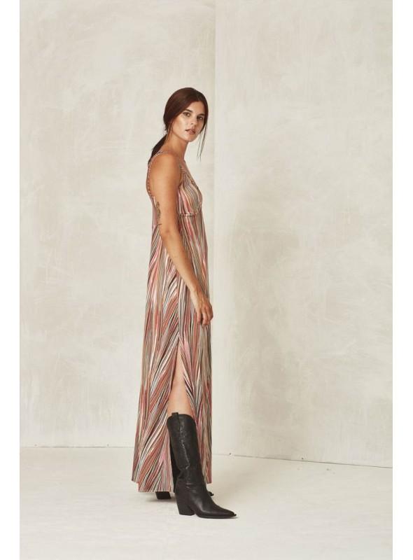 Mónica Lendínez Vestido largo rayas multicolor