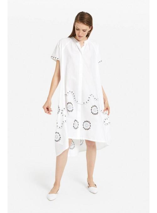 Otto d ame Vestido camisero blanco bordados