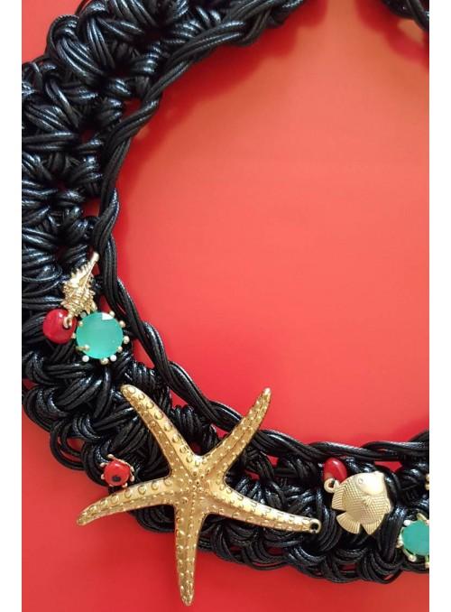 VOSSO Collar negro estrella de mar dorada