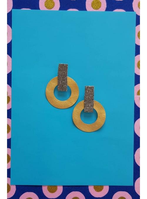VOSSO Pendientes círculos oro/strass