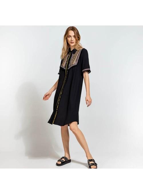 Acces Vestido camisero negro bordado étnico
