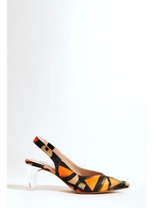 VOSSO Zapato estampados picasianos naranjas