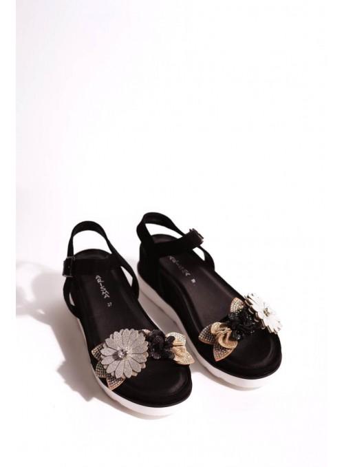 Vossochic Sandalia negra flores