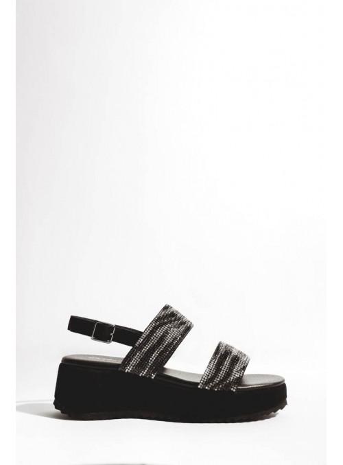 Vossochic Sandalia negra tiras strass