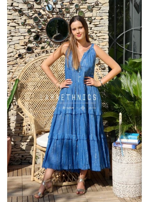 Lara Ethnics Vestido azul rayas lúrex
