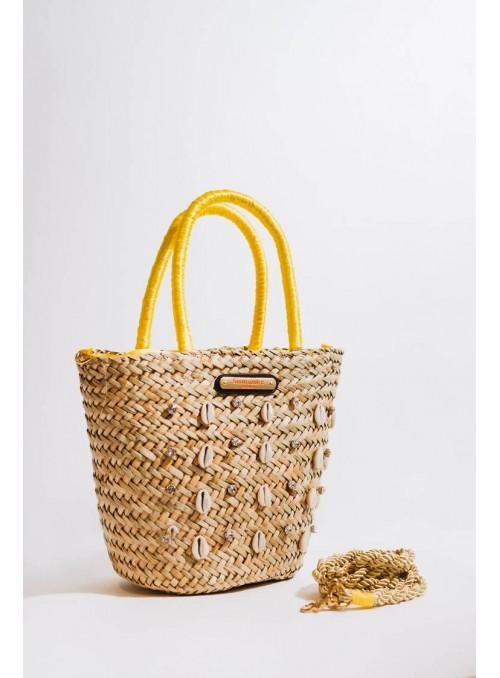 Vossochic Bolso cesta palma amarillo