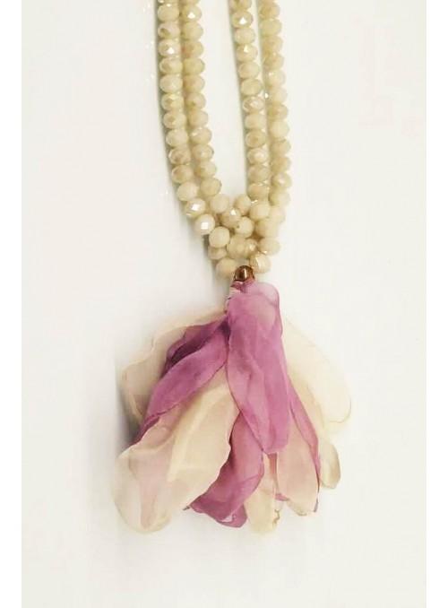 Kontessa Collar piedras flor malva