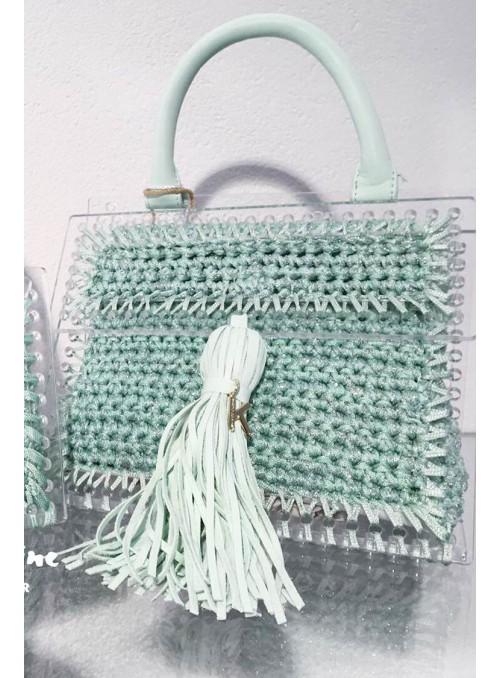 Kontessa Bolso metacrilato y crochet verde agua