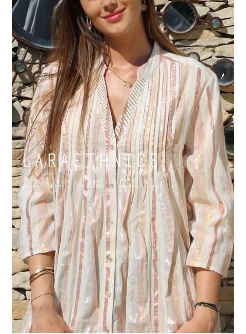 Lara Ethnics Camisa rayas lúrex bronze
