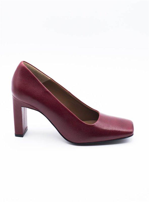 Zinda Zapato Punta Cuadrada Rojo