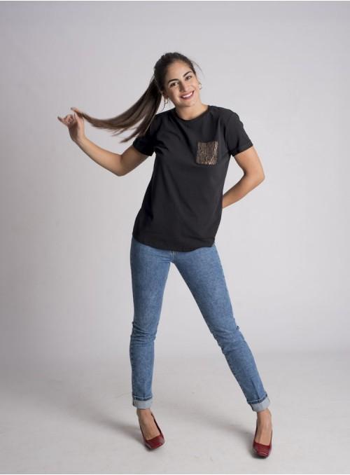 Liujo Camiseta Bolsillo Strass