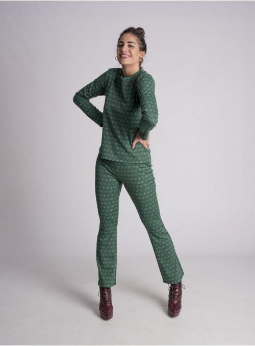Pantalón Estampado Geométrico Verde