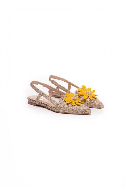Ras Zapato Plano flor amarilla de...